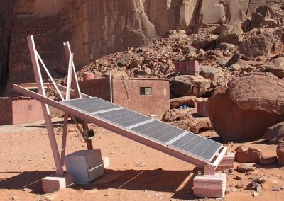 C-This lone solar panel provides enough electricity for several tents and one television in the evening.