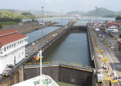 Chase | Panama Canal 06 2nd lock filling with water from third lock