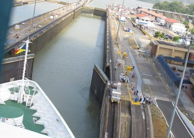 Chase | Panama Canal 07 water levels equal for 2nd and 3rd locks so gates open to let ship pass into lock 3