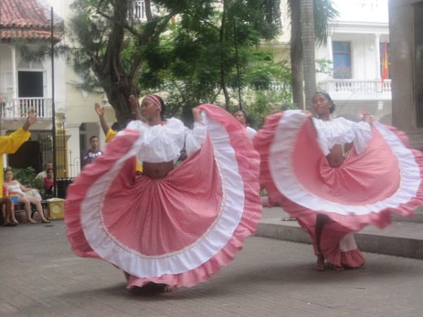 Dancing in the streets in Cartagena, Columbia