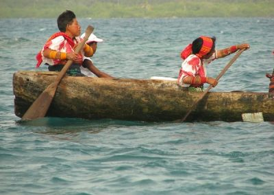 The only transportation between islands is the dugout canoe.